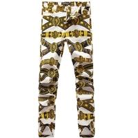 Fashion men's clothing 2014 gradient color popular print elastic jeans slim skinny pants