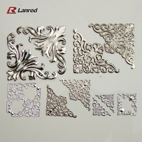 T1 Free Shipping 100pcs 22mm 36mm 55mm Mixed shapes Silver FILIGREE Metal CORNERS Wedding Invitation Stick On Toppers