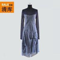 Cop.copine summer long-sleeve irregular long one-piece dress diodora Cute Print dresses