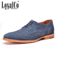 New 2014 Men's Flats Solid Cut-outs Blue Brogue Style Casual Shoes Suede Genuine Leather Shoes Rubber Sole Brand LoyalCo