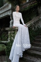 2014 Berta Elegant Slim Fit Mermaid Gown White Lace Long Sleeve Chapel Train Backless Wedding Dresses Bridal Dress Wedding Gown
