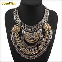5 colorsFashion Boho Style Exaggerated Multilevel ChainStatement Necklaces Women Evening Dress Jewelry  bib Choker Free Shipping