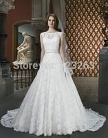 New Design 2014 A Line Elegant Lace Wedding Dresses Sleeveless Covered Back with Bow Sash LK001