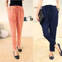 2014 summer female harem pants casual pants trousers plus size candy color vintage chiffon pants