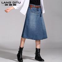 2014 spring and summer women's vintage denim skirt bust skirt female medium-long denims