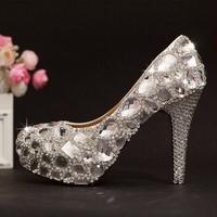 Crystal rhinestone wedding shoes high platform diamond bridal shoes party shoes women shoes pumps