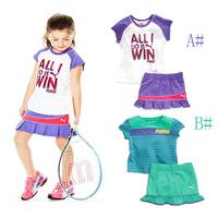 2014 Children's clothing summer kids Sports suit Short Sleeve 2 pcs baby girls clothes set(t shirt+ skirt) 6 set/lot