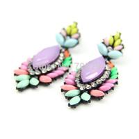 2014 Spring New Fashion Teardrop Multi Color Crystal Flower Stud Earrings For Women