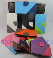 Magnetic Dual Color 2 Strip Wallet Cover Pouch Stone Sand Grain Card Slot Purse Bag Case for Samsung Rex 60 C3312R  Free
