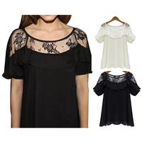 2014 European New Style Women's Round Neck Flounce Hollow out Short Sleeve Shirt Chiffon Blouse 2X E3019