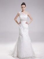 White Mermaid 2014 Luxury Wedding dress One-Shoulder Sleeveless Chapel Train Satin Tulle  With Beadwork Lace Wedding Dresses