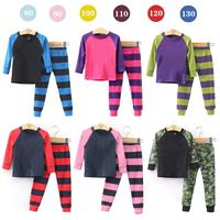 2014 A-D Children's clothing Long-sleeved striped girls pajama sets 2 pcs baby kids clothes set(t shirt+ long pants) 6 set/lot