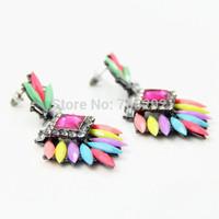 2014 Spring New Fashion Multi Color Geometric Chuncky Crystal Flower Stud Earrings For Women
