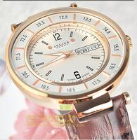 2014 Authentic Korea Brand Julius Watch Men Quartz Watch Casual Watches Day Date Luminous Genuine Leather Strap Watches