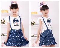 free shipping new arrival Children's wear girl's short sleeves dress children's cowboy short dress