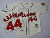 Free Shipping Wholesale&Retail Atlanta Braves Jersey #44 Hank Aaron Throwback Baseball Jersey,Embroidery Logo,Can Mix Order
