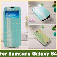 Blue Butterfly Slim Flip S-View Screen Leather Custom Printing Case Cover for Samsung Galaxy S4 Free Shipping