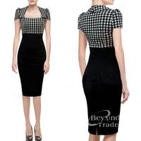 New 2014 Women Summer Dress Short Sleeve Patchwork Bodycon Straight Pencil Dress Women Work Wear Party Dress