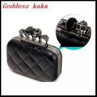 2014 Women vintage Skull purse, Black Skull Knuckle Rings Handbag Day Clutch Evening Bag With shoulder Chain Perfect G027