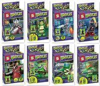 8 models ninja turtles toys minifigures ninjago with weapon skateboard generation 7 building blocks sets kids classic toys