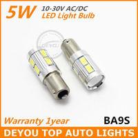 2pcs/lot 5W BA9S 10SMD 5630 12V 24V white LED Width Lamp car wedge light bulb Signal Light Bulb Free shipping