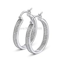GNE0952 Hoop Earrings Luxury Wedding Jewelry 925 Sterling silver micro pave Zircon Hoop Earrings Top quality Factory Price