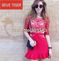 (DEIVE TEGER)Big promotion High quality autumn fashion star left bank eyelash lace ruffle dress one-piece dress DT149