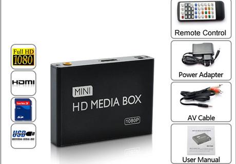 USB/SD/MMC Mini 1080P USB AV Port HD HDMI Video Audio Digital Multi Media Player(China (Mainland))