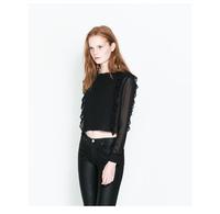 2014 New Fashion High Quality Women Lady Causal Tops Long Sleeve Ruffles Hems Blouse Shirt