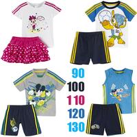 2014 A-D Children clothing Boys girls Mickey Minnie short-sleeved suit 2 pcs kids clothes set(t shirt+ short pants) 5 sets/lot