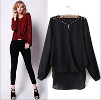 2014 New Fashion High Quality Women Lady Causal Tops Long Sleeve Rivet Blouse Shirt