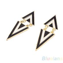 2014 Hot New Fashion Punk Vintage Cute Enamel Geometric Triangle Dangle Ear Stud Earrings for Women