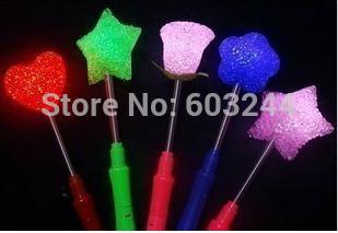 Free EMS DHL 100pcs Crystal Heart Star Rose Xmas party supplies LED Glow Sticks Flash Sticks light up Wand Party Disco KTV kids(China (Mainland))