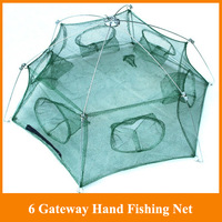 Hot Sale! 6 Gateway Hand Fishing Net 98cm Diametre stake net 6 holes fishing tackle for outdoor sports fishing line