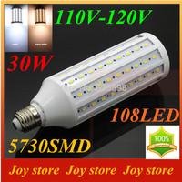 30W,5730 SMD,LED Lamps Bulb,E27 B22 E14,110V,120V,Cold White/Warm white,108 LED,Corn Light Bulb,Ultra bright spot lights