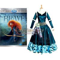 Free Shipping Custom-made Merida Princess Dress Brave Legend Cosplay Princess Dress