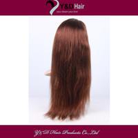 5A #4 Medium Brown 14-30 Inch Straight Full Lace Wigs Handmade 100% Brazilian Virgin Real man Hair Full Head Customized