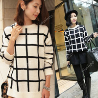 2014 fashion women vintage loose black and white checkered sweater round neck long sleeve lady's casual pullovers tops wholesale