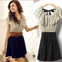 With Belt! Korean Women Summer New Fashion Chiffon Dress Short-sleeve Dots Polka Waist Mini Beige Black Free Shipping 5709