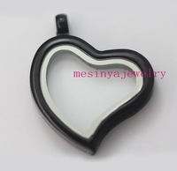 10pcs black plating curved heart authentic  glass locket for floating charms
