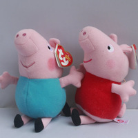 "IN HAND !1 pair by Ty Original Peppa pigs George & Peppa~ 13m 5"" Plush Toy Movie TV Stuffed Animals Dolls Kids FREE SHIP"