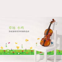 5 Set/lot 45*160 Cm Green Grass And Chick Painting Plant Wall Decals Pastoral DIY Glass Sticker