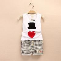 2014 New Summer Kid Girl Clothes Set T Shirt And Lattice shorts Pants Children Clothing Sets Free Shipping