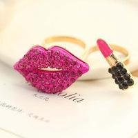 2014 New Fashion Korean Ladies Sexy Lips Lipstick Double Finger Rings