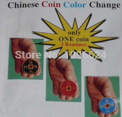 Free Shipping.Chinese Coin Color Change ,Card Magic,stage magic props/accessories,card mental stage close up magic tricks(China (Mainland))