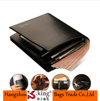2014 New High Quality Cowhide Genuine Leather Men Wallets  Short Fashion Design Luxury Brand Gift For Man , Free Shipping