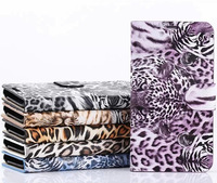 Colorful Leopard Print Luxury Flip PU Case for Samsung Galaxy S5 Wallet Cases Cover, 6 Colors, 10pcs/lot, Free Shipping