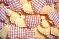 100  Padded  Cotton  fabric appliques trim - 22 x 15 mm   Orange