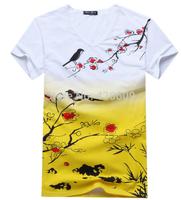 Free Ship 2014 Fashion Gradient T Shirt V-Neck Slim Short Sleeve T-Shirt Men Summer Casual Tee Cotton