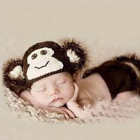 Cartoon monkey children kid Baby Infant knit hat underpants set Baby Photo Props Egnes clothing